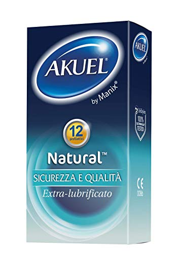Akuel Natural, preservativi extra-lubrificati in lattice, 12 pezzi