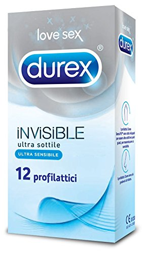 Durex Invisible Preservativi Ultra Sottili ad Alta Sensibilità, 12 Profilattici