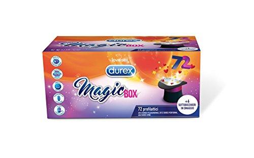 Durex Magic Box 3 Varietà di Preservativi Sync Performa e Pleasuremax con Sottobicchieri in Omaggio, 72 Profilattici