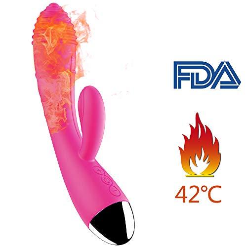 Massaggiatore Wireless per Donna con 10 Frequenza, Riscaldamento, Motori Doppi, Ricaricabile Magnetica, 100% Impermeabile, Silicone Medico Privo di PVC e ftalati