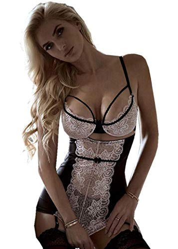 SxyBox Donna Babydoll Set Sexy Lingerie Pizzo Sleepwear Nightwear Set