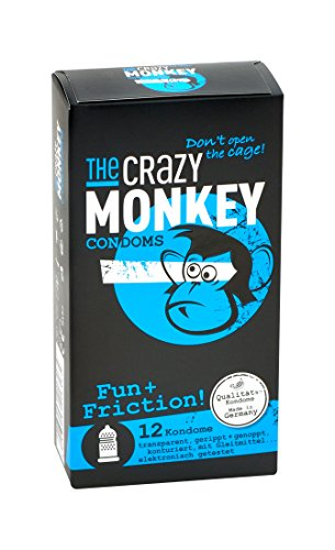 The Crazy Monkey Condoms - Fun+Fricition - con brufoli & scanalato per la massima intensità emotiva - realizzato in lattice di gomma naturale - 12 condoms - Made in Germany